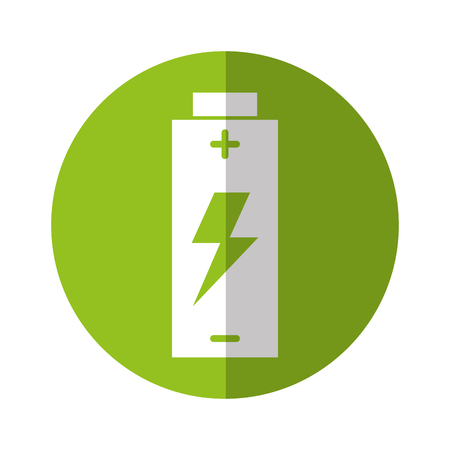 battery icon with green line and shadow over white backgroud vector illustration Illustration