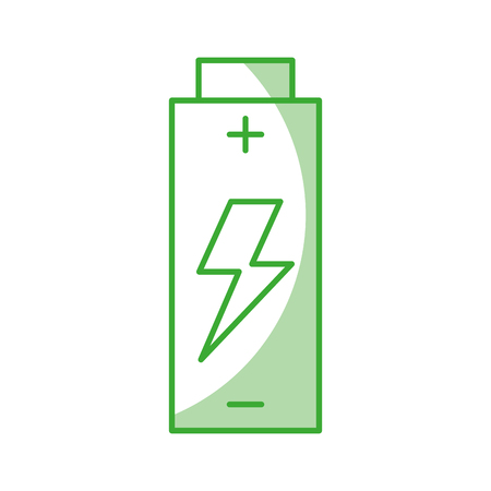 battery icon with green line and shadow over white backgroud vector illustration Ilustração