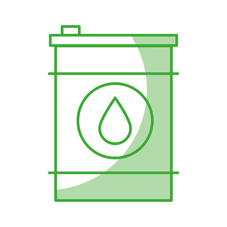 Oil barrel icon with green line over white background vector illustration