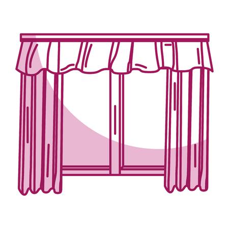 cute courtain windows icon vector illustration design
