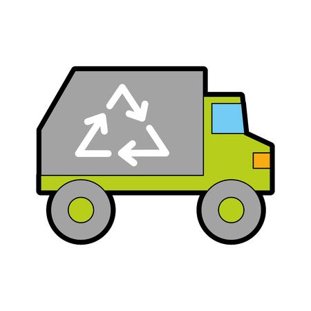 ごみ収集車車両ベクトル イラスト グラフィック デザイン