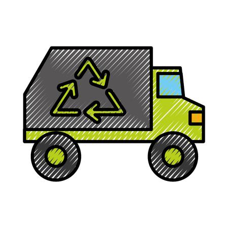 쓰레기 트럭 차량 벡터 일러스트 그래픽 디자인 일러스트