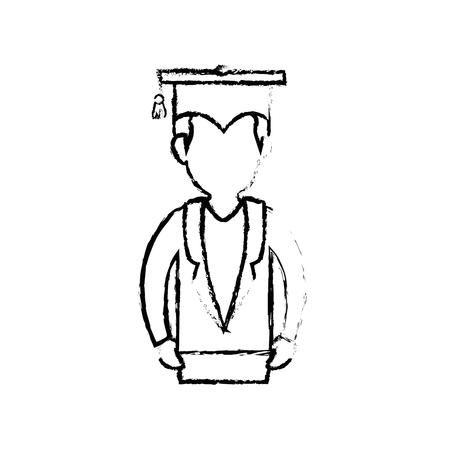 흰색 배경 위에 졸업 모자 아이콘을 가진 학생. 벡터 일러스트 레이 션