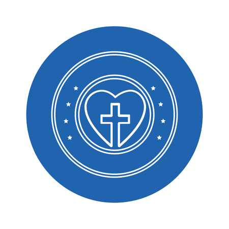 heart with christian cross icon over blue circle and white background. vector illustration