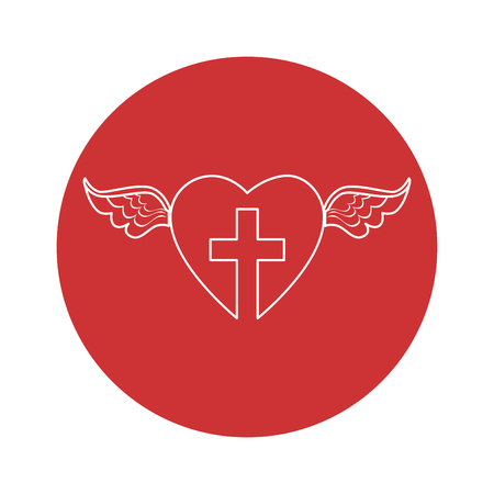 heart with wings and christian cross icon over red circle and white background. vector illustration