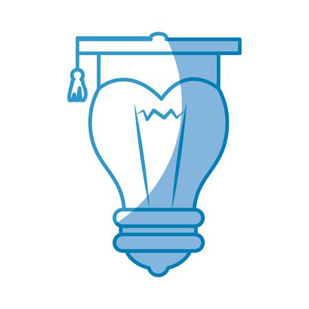 白い背景の上卒業キャップ アイコンと電球。ベクトル図