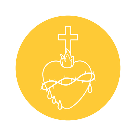 sacred heart icon over yellow circle and white background. vector illustration Ilustrace
