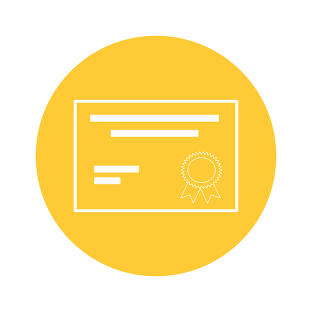 certificate document icon over white background. vector illustration