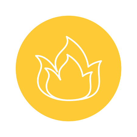 Fire flame icon over yellow circle and white background. vector illustration