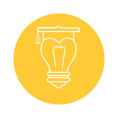 노란색 동그라미와 흰색 배경 위에 졸업 모자 아이콘 전구. 벡터 일러스트 레이 션