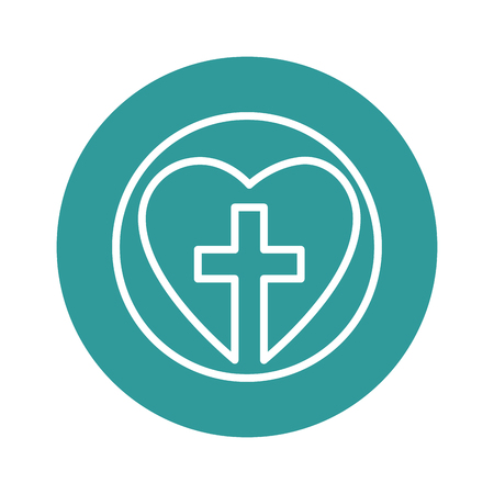 heart with christian cross icon over turquoise circle and white background. vector illustration