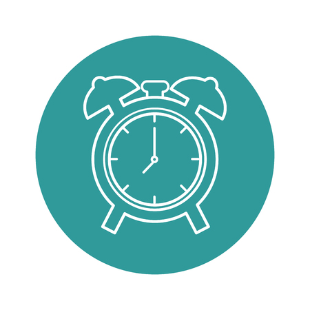 clock icon over turquoise circle and white background. vector illustration