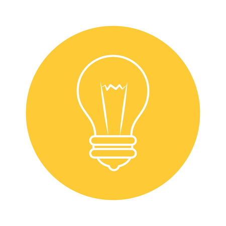 bulb icon over yellow circle and white background. vector illustration Иллюстрация