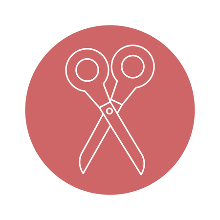 schaar pictogram over rode cirkel en witte achtergrond. vectorillustratie