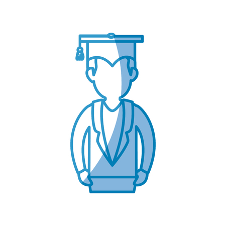 student with graduation cap icon over white background. vector illustration Stock fotó - 77974855