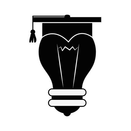 卒業の帽子アイコン ベクトル イラスト グラフィック デザインと電球  イラスト・ベクター素材
