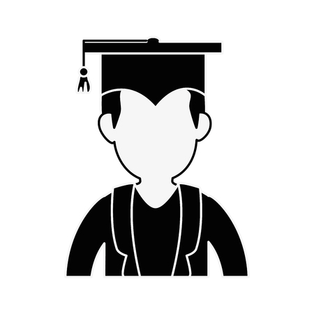 学生卒業プロファイル アイコン ベクトル イラスト グラフィック デザイン