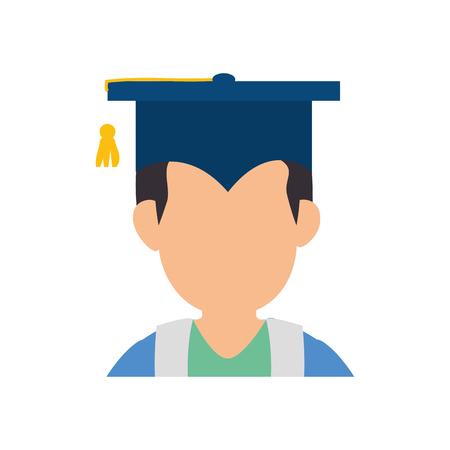 Lève diplômé profil icône vector illustration graphisme Banque d'images - 77978356