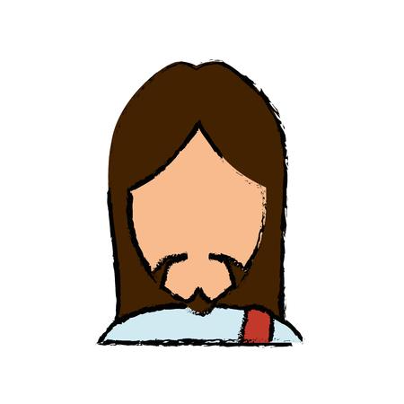 Jesuschrist face cartoon Jesuschrist face cartoon icon vector illustration graphic design