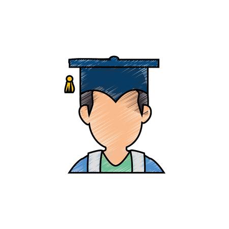 Lève diplômé profil icône vector illustration graphisme Banque d'images - 77981200