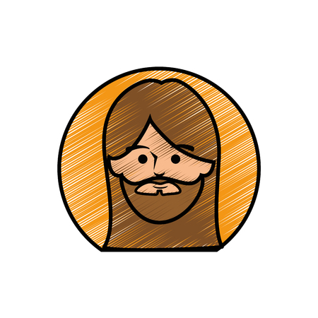Jesuschrist face cartoon icon vector illustration graphic design Imagens - 77981293