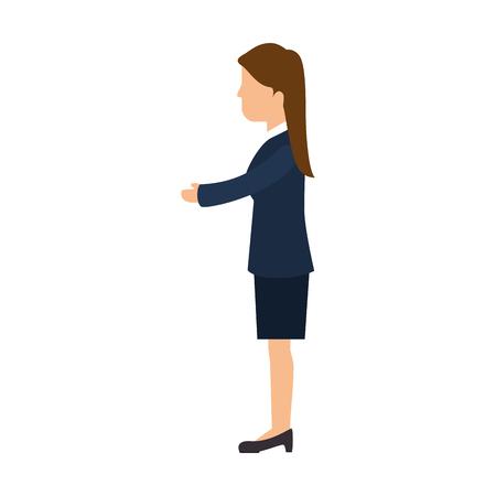 Business woman handshake icon vector illustration graphic design