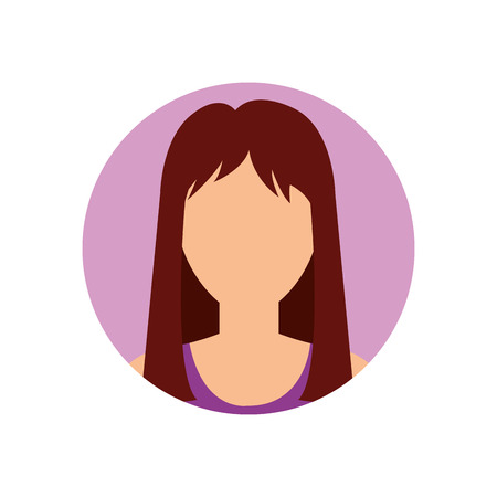 woman avatar icon over purple circle and white background. vector illustration