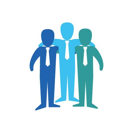 Teamwork emblem icon over white background. vector illustration