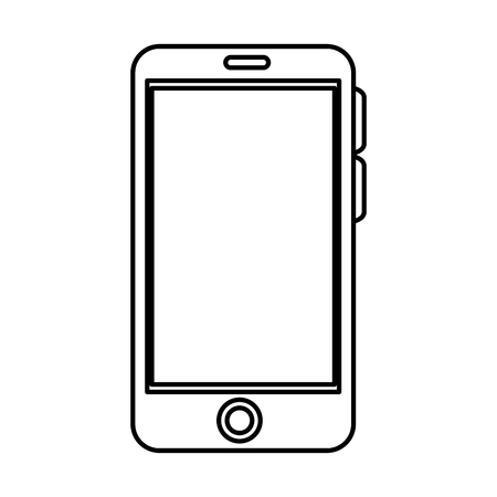 smartphone device icon over white backgroun. vector illustration