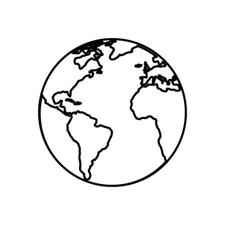白い背景の上の惑星地球アイコン。ベクトル図
