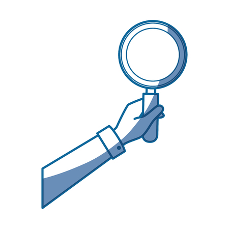 hand holding a magnifying glass icon over white background. vector illustration