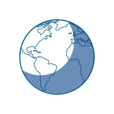 白い背景の上の地球惑星アイコン。ベクトル図