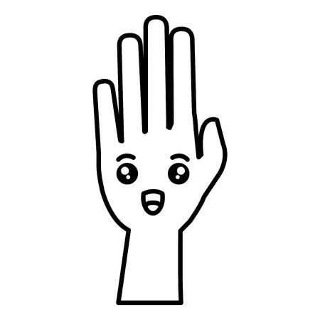 hand human raised comic character vector illustration design
