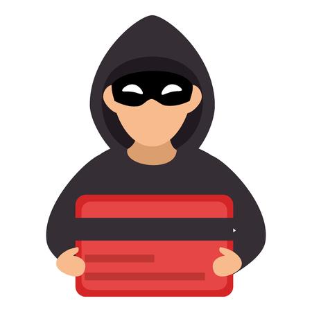 Hacker with credit card avatar character vector illustration design Illustration