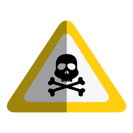 sign with skull danger alert icon vector illustration design Imagens - 77989074