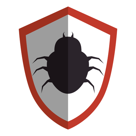 shield with bug virus alert icon vector illustration design