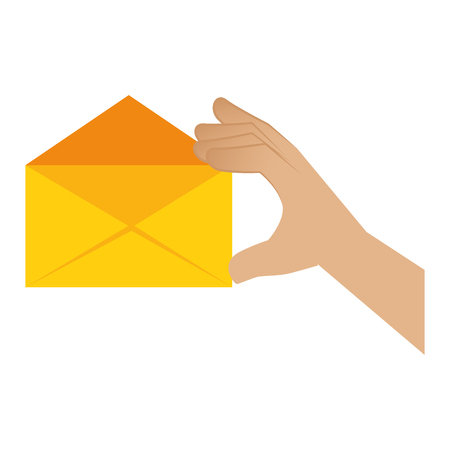 correspondence: hand human with envelope mail isolated icon vector illustration design