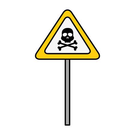 Teken met schedel gevaar waarschuwing pictogram vector illustratie ontwerp