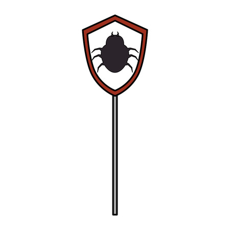 signal with bug virus alert icon vector illustration design Illustration