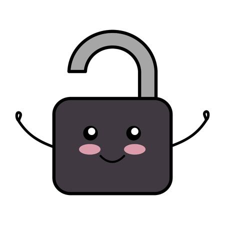safe secure padlock comic character vector illustration design