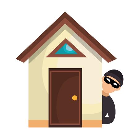 Casa con ladrón avatar carácter icono diseño de ilustración vectorial Ilustración de vector