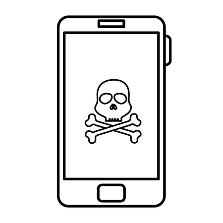 smartphone device with skull isolated icon vector illustration design