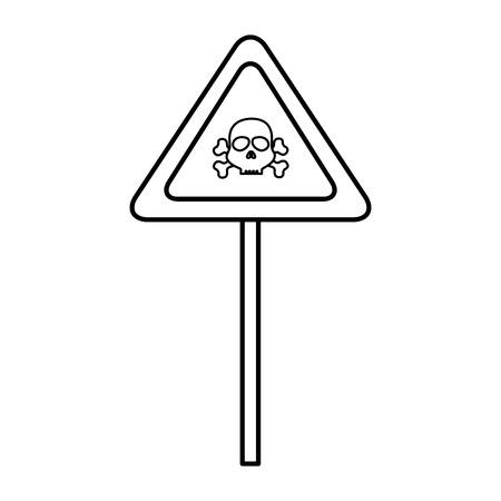 sign with skull danger alert icon vector illustration design