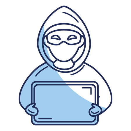 Hacker with computer avatar character vector illustration design Illustration