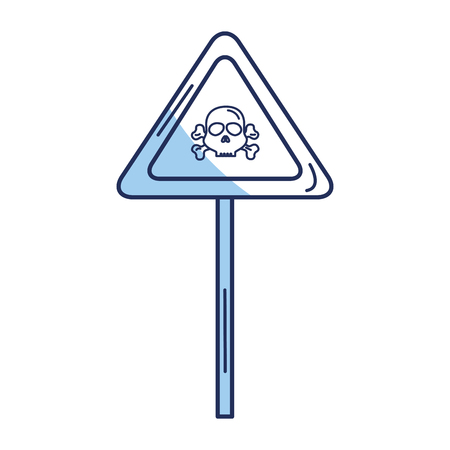 sign with skull danger alert icon vector illustration design