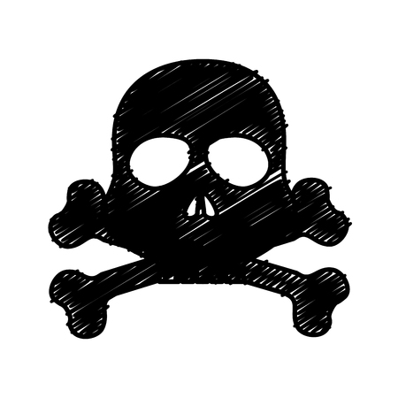 skull danger alert icon vector illustration design Imagens - 77989520