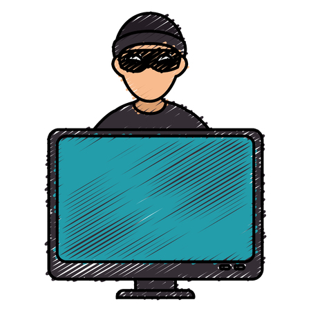 Hacker with computer avatar character vector illustration design Ilustrace