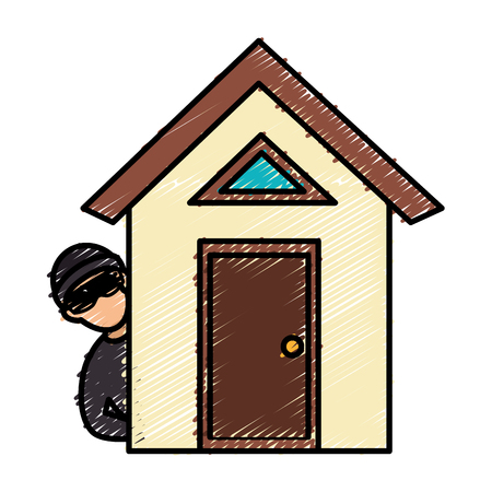 house with thief avatar character icon vector illustration design