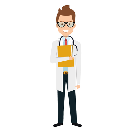 Male doctor with stethoscope avatar character vector illustration design