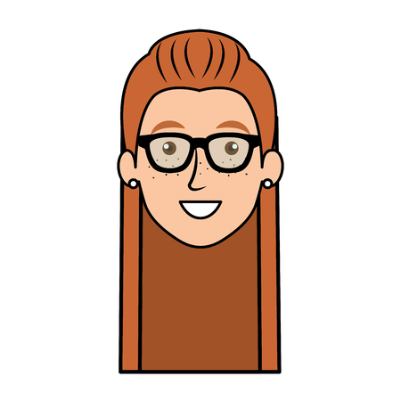beautiful and young woman head with glasses vector illustration design Stock Vector - 77989755